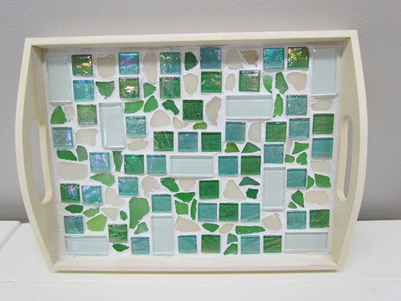 Sea Glass and Tile Serving Tray