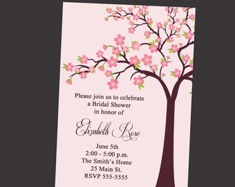Bridal Shower Invitation with Cherry Blossom Tree