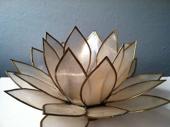 Vintage capiz shell lotus tea light holder - Capiz shell tealight holder ...