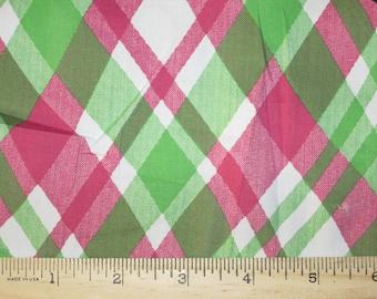 Pretty Cross Diagonal Hot PInk & Apple Green Woven Stretch Cotton