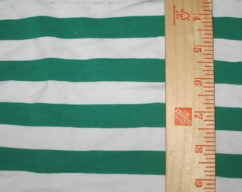 "Apx. 7/8"" Kelly Green and White Cotton Lycra Stripe Knit Fabric"