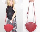 Red Textured Leather Abstract Round Purse. 1980s Vintage.
