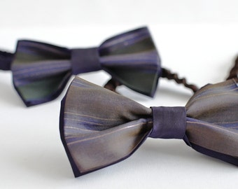 Silk bow tie brown pre-bonded - silk bowtie navy handpainted - Handmade men accessories - OOAK  ready to ship