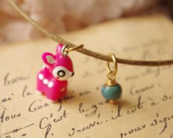 Dark Pink Little Deer Necklace