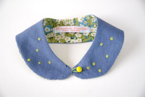 Lady Bug - Col Claudine en lin bleu et liberty , taille enfant - Blue linen Peter Pan collar, kid size