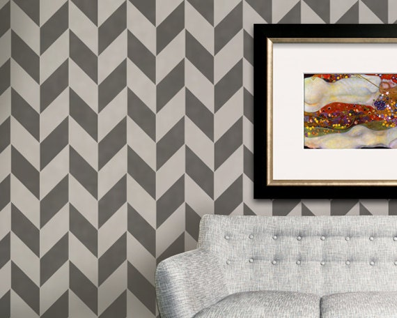 Wall Stencil Large Herringbone Stencil for a Modern Wallpaper Look