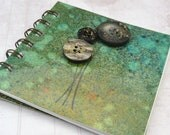 "Dandelion Notebook, Spiral Bound, Green, Orange, 4"" x 4"""