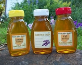 Raw Honey Sampler - Summer, Fall, and Lavender Infused Honey -three 8 ounce bottles