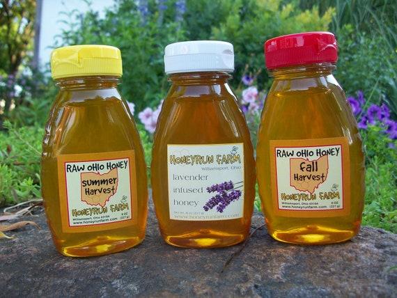 Raw Honey Sampler - Summer, Fall, and Lavender Infused Honey -three 8 ounce bottles