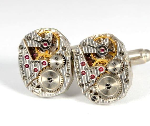 WEDDING Steampunk Cufflinks STRIPED HAMILTON 750 Steampunk Vintage Watch Cuff Links Cufflinks Steampunk Jewelry by Victorian Curiosities