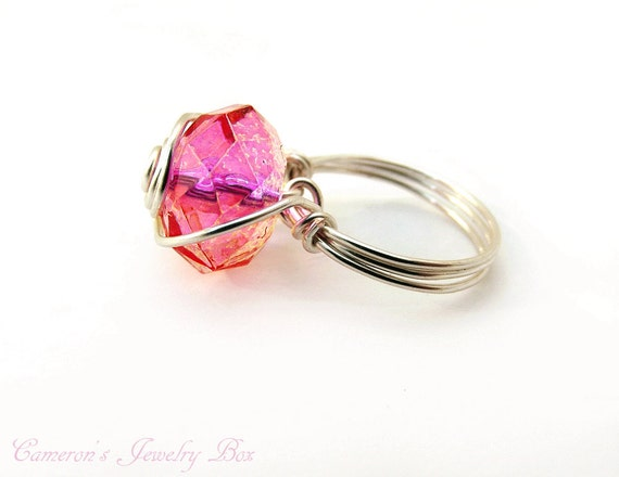Pink Ring, Large Statement Ring, Wire Wrapped Jewelry, Cocktail Ring, Womens Ring, Pink Jewelry