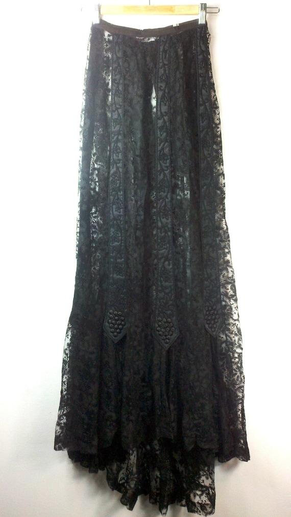 heroine antique black lace maxi skirt xxs xs