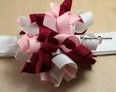 Pink Korker Bow and Soft Adjustable Headband
