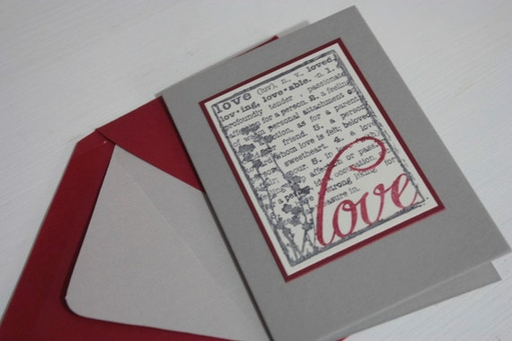 definition of love card, in red and grey, love you, valentine