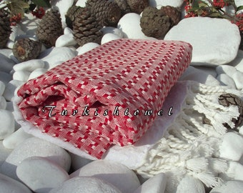 Turkishtowel-High Quality,Hand Woven,Cotton,Bath,Beach,Spa,Yoga,TravelTowel or Sarong-Mathing-Natural White and Red