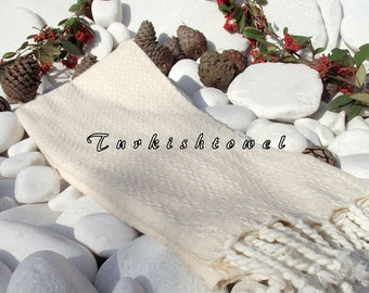 Turkishtowel-High Quality,Hand Woven,Cotton,Bath,Beach,Spa,Yoga,TravelTowel or Sarong-Mathing-Ivory