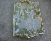 Pottery Tray  in Wheat theme, harvest, Manitoba prairies,  foliage green with inlaid wheat for serving , soap  or Spoon Rest