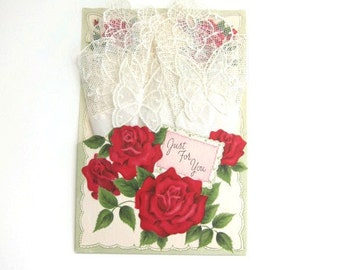 Vintage Fancy Handkerchief on Greeting Card, Just For You