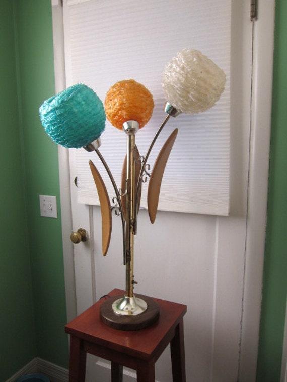 Three Globe Ribbon Lucite Lamp, Colorful, Eames Era