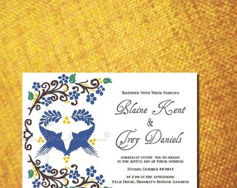 MEXICAN Wedding Invitation FLORAL Love Birds DIY Printable Anniversary Engagement Party Housewarming Rustic Bridal Shower Destination Boho