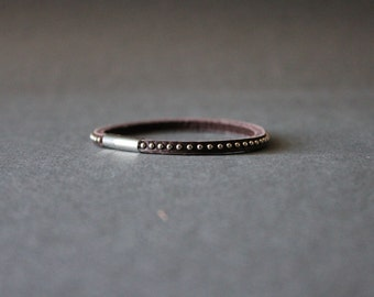 Mini Stud Leather Bracelet(Dark Brown)