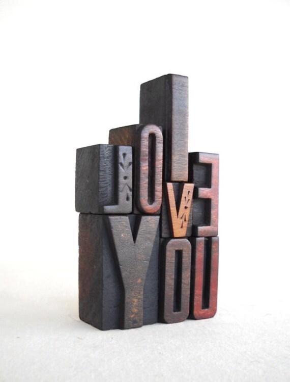 I Love You -8 Vintage Letterpress Wooden Letters Collection VG56
