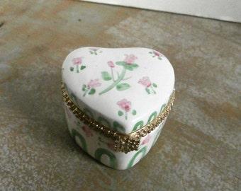 Rose Heart Ceramic Trinket Box