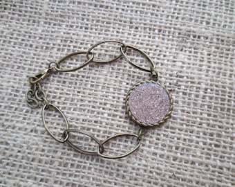 Vintage style glass glitter charm bracelet. choose silver, red, pink, blue, gold, green or champagne color