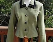 Green and Black Cropped  Blazer - Houndstooth Suit Coat - SIze 12 Jacket  - Fall Blazer- 1980s Juniors Blazer