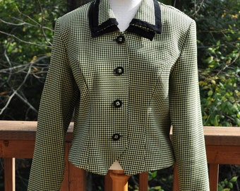 Green and Black Cropped  Blazer - Houndstooth Suit Coat - SIze 12 Jacket  - Fall Blazer- 1980s Juniors Blazer