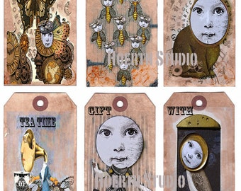 Printable Steampunk  Tags collage cut outs scrapbook DIY craft supply