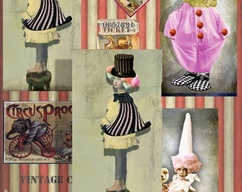 Vintage Circus Collage  steampunk Instant download