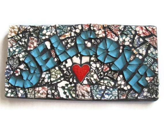 Welcome sign, Mosaic Sign, Glass and Handmade Ceramic Mosaic, Home decoration, Turquoise Glass, Red heart