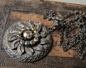 SALE... Vintage necklace,  brass pendant with glass rhinestones