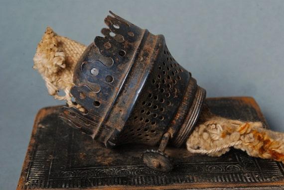 Vintage  metal oil, kerosene lamp part, finding, dark patina