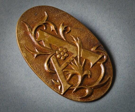 Vintage metal brooch, badge pin, Letter A