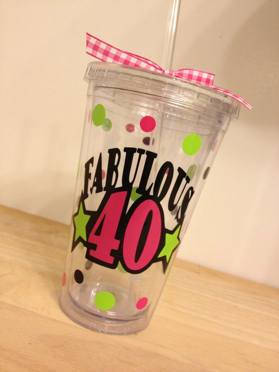 Birthday Fabulous 40, Personalized w/name acrylic tumbler, polka dots, Available in skinny, standard, sip top, sport bottle, mason, Vino2go