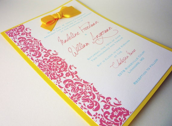 Coral And Teal Wedding Invitations: Yellow Coral & Teal Custom Wedding Invitations By