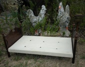 Antique Colonial Doll Bed With Button Tufted Mattress