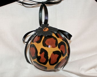 Hand Painted Leopard Print Ornament