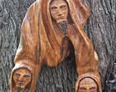 Trinity hand carved olive wood spiritual sculpture