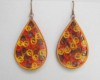Quilling Earrings, Rust Orange Yellow for Autumn, Copper Findings, Large