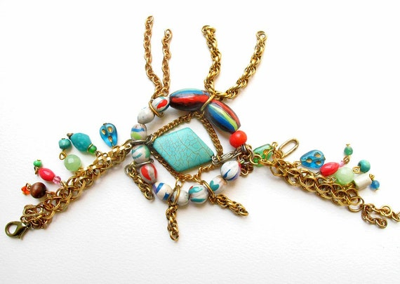 Orbita, Gold Chain and Hand Painted Beaded Bracelet withTurquoise - One of a Kind - Free Shipping U.S.