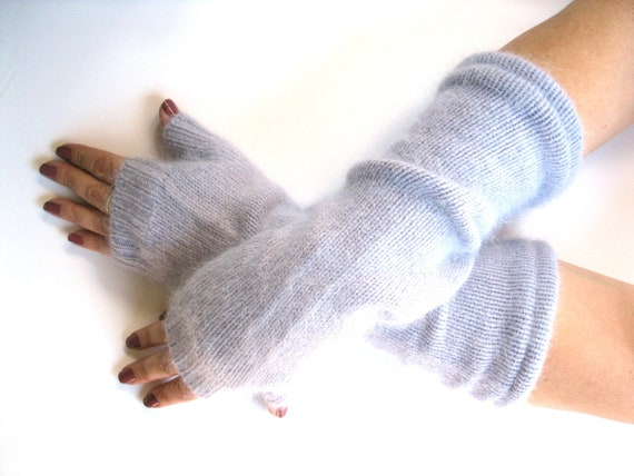 Angora Fingerless Gloves - Softest Lilac Wrist Warmers Arm Warmers :  Upcycled Recycled Repurposed