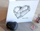 Letterpress, humour, punny, funny birthday card for teenager, You rock -  heart rock, black & white monochrome, geologist, made in Australia