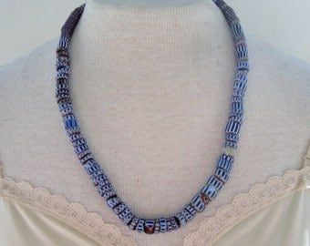 Vintage RARE Late 1800s Early 1900s African Tribal Millefiori Kiln Fired Glass Blue Red Chevron Trade Beaded Raffia Matinee Length Necklace