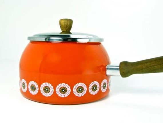 Red Scandinavian Style Enamelware Pot with Wooden Handle