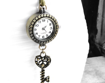 Get 15% OFF - Antique Bronze Watch , Bronze Heart Key Charm, White Glass Pearl, Vintage Style Necklace - Valentine's Day SALE 2016