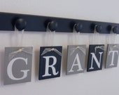 Navy Blue and Gray Nursery Wall Set includes Baby Boy Nameplate GRANT and 5 Wooden Pegs Navy
