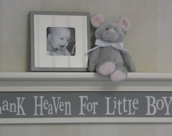 "Thank Heaven For Little Boys - Sign Painted in Grey on 30"" White Shelf - Gray Nursery Decor Baby Boy Gift"